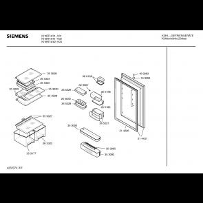 Bosch Siemens Buitendeur van koelkast 00214437